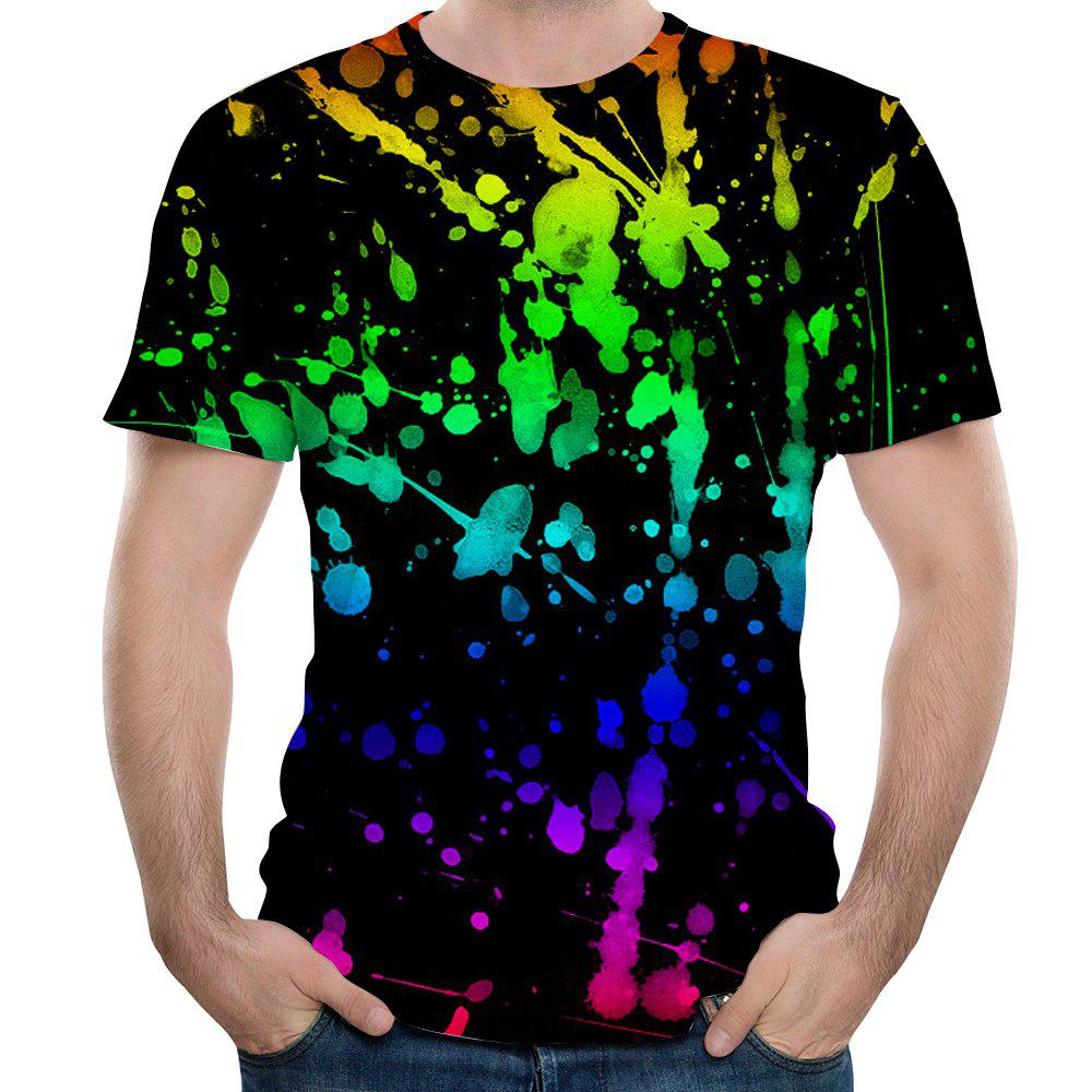 Online Fashion Round Neck Men's Splash Ink Watercolor Printed Short-Sleeved T-Shirt