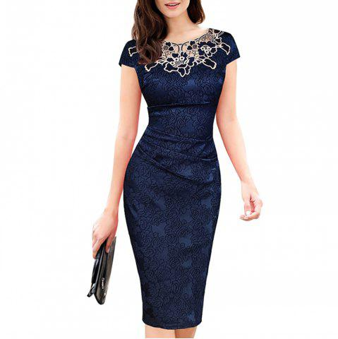 Women's Lace Patchwork Applique Flowers Pleated Short Sleeve Pencil Dress