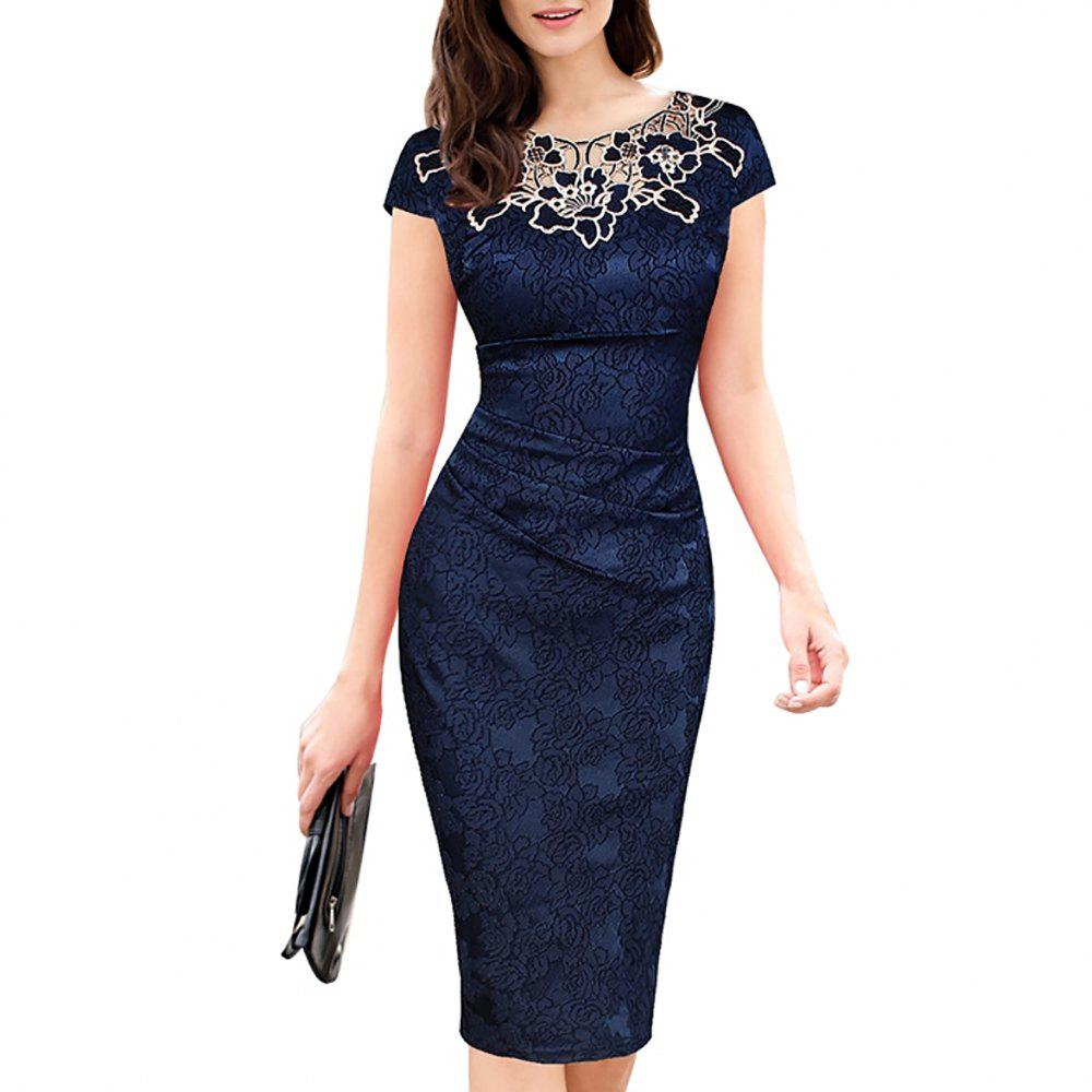 New Women's Lace Patchwork Applique Flowers Pleated Short Sleeve Pencil Dress