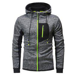 Zipper Stitching Men's Hooded Sweater for Outdoor -