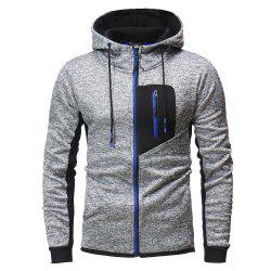 Zipper Stitching Men's Hooded Sweater Outdoor Mountaineering Sweater -