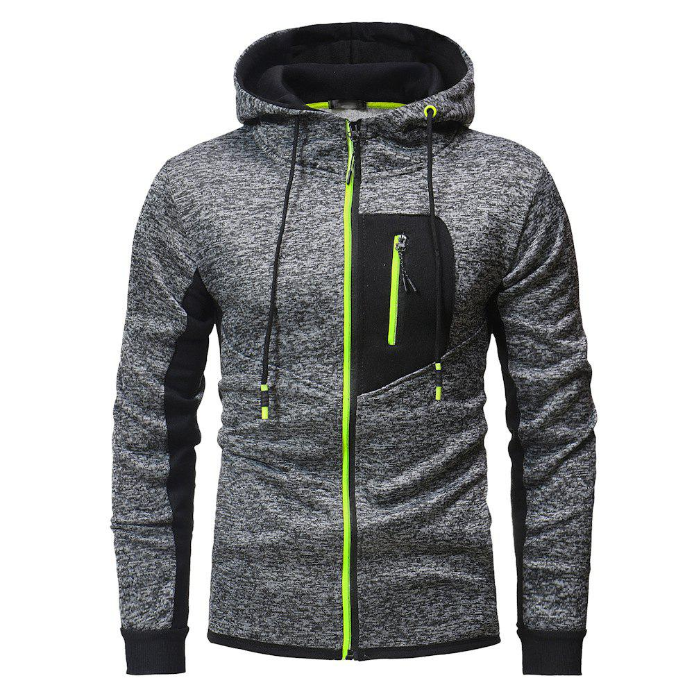 Chic Zipper Stitching Men's Hooded Sweater Outdoor Mountaineering Sweater