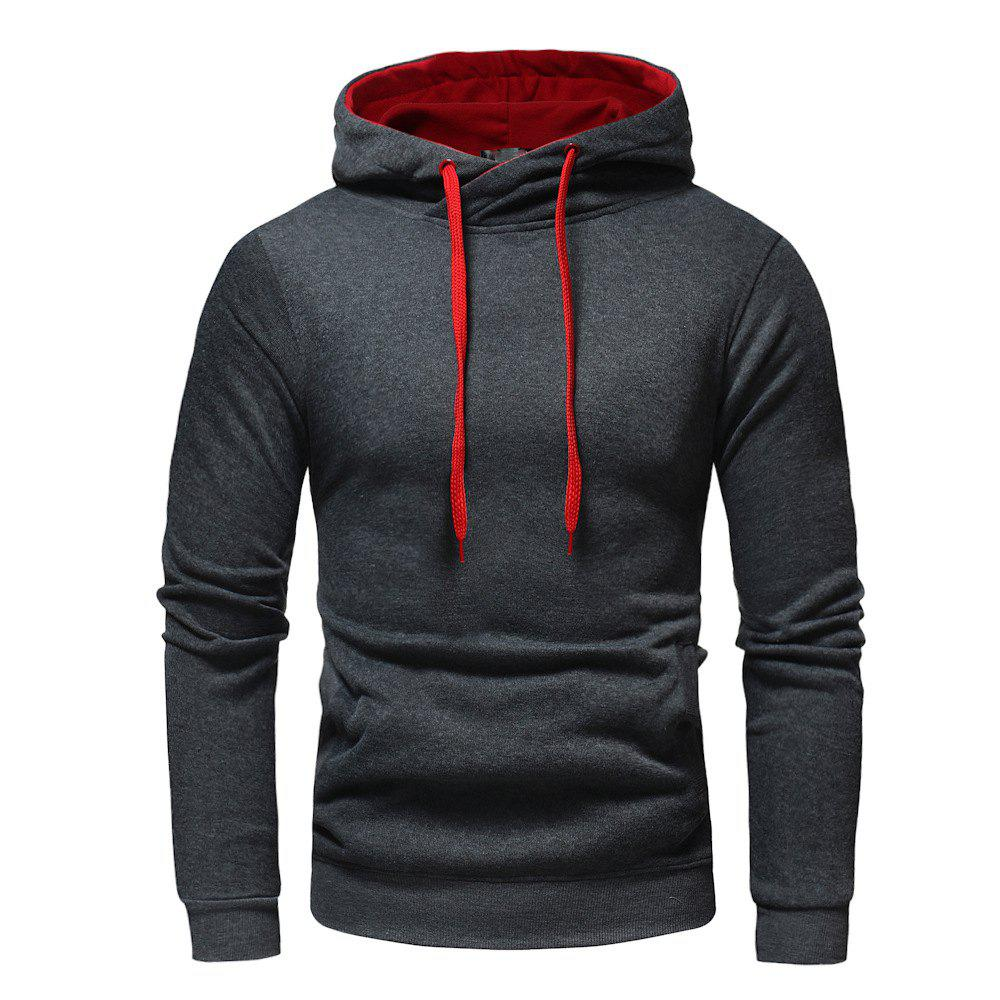 Store Fashion Casual Hooded Head Men's Solid Color Sweater