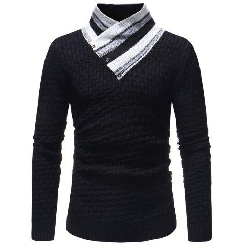 Stripes Stitching V-neck Pullover Sweater Men's Fashion Casual