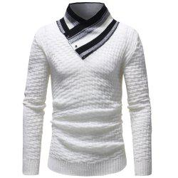 Rayures couture couture pull pull mode hommes occasionnels - Blanc L