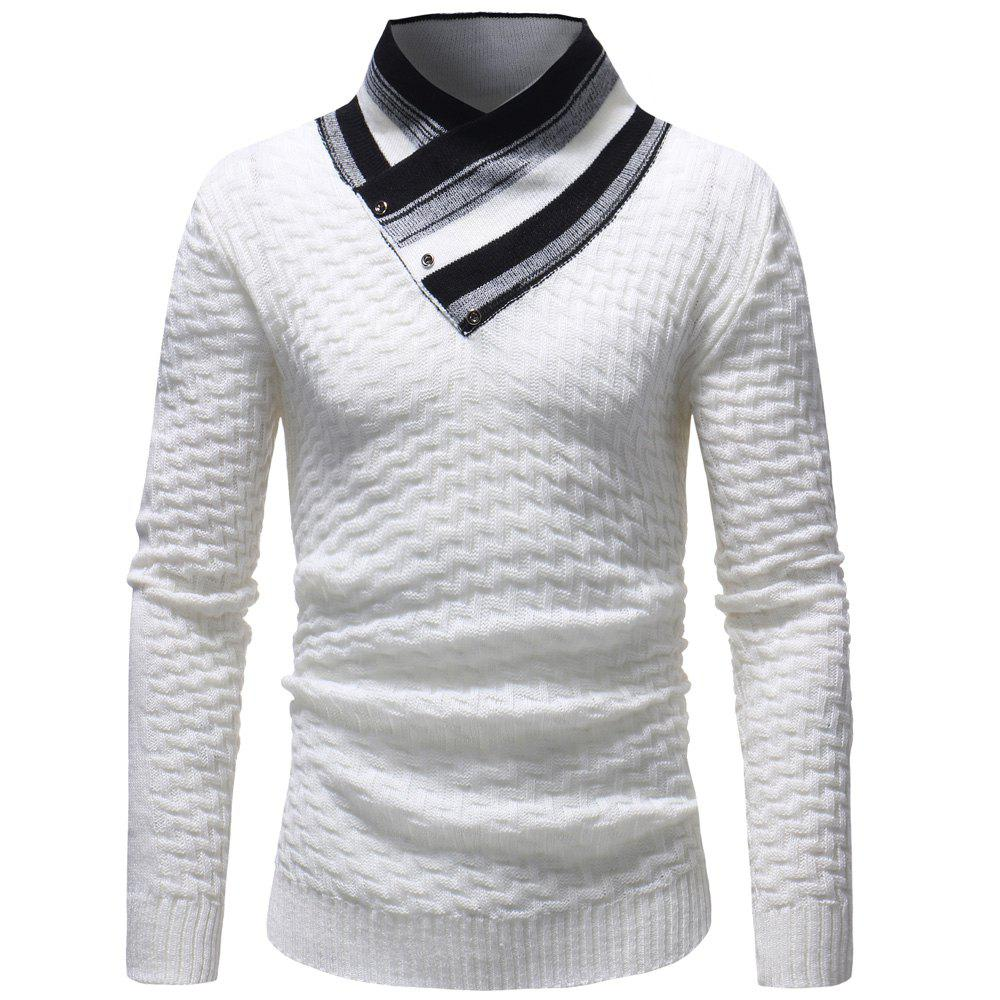Rayures couture couture pull pull mode hommes occasionnels Blanc L
