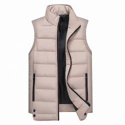 Zipper Pocket  Collarless Quilted Vest -