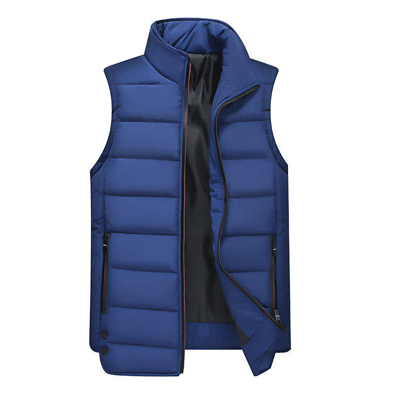 Buy Zipper Pocket  Collarless Quilted Vest
