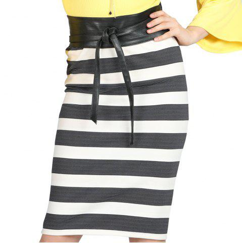 SBETRO Package Hip Skirt Striped Lace up Skinny