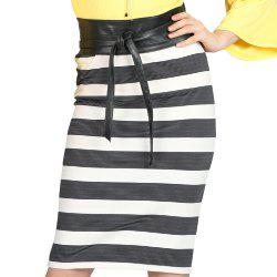 SBETRO Package Hip Skirt Striped Lace up Skinny -