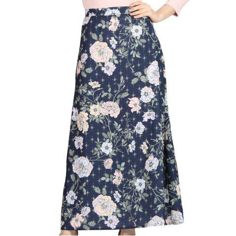 SBETRO Floral Print Skirt Ankle Length Lace Up