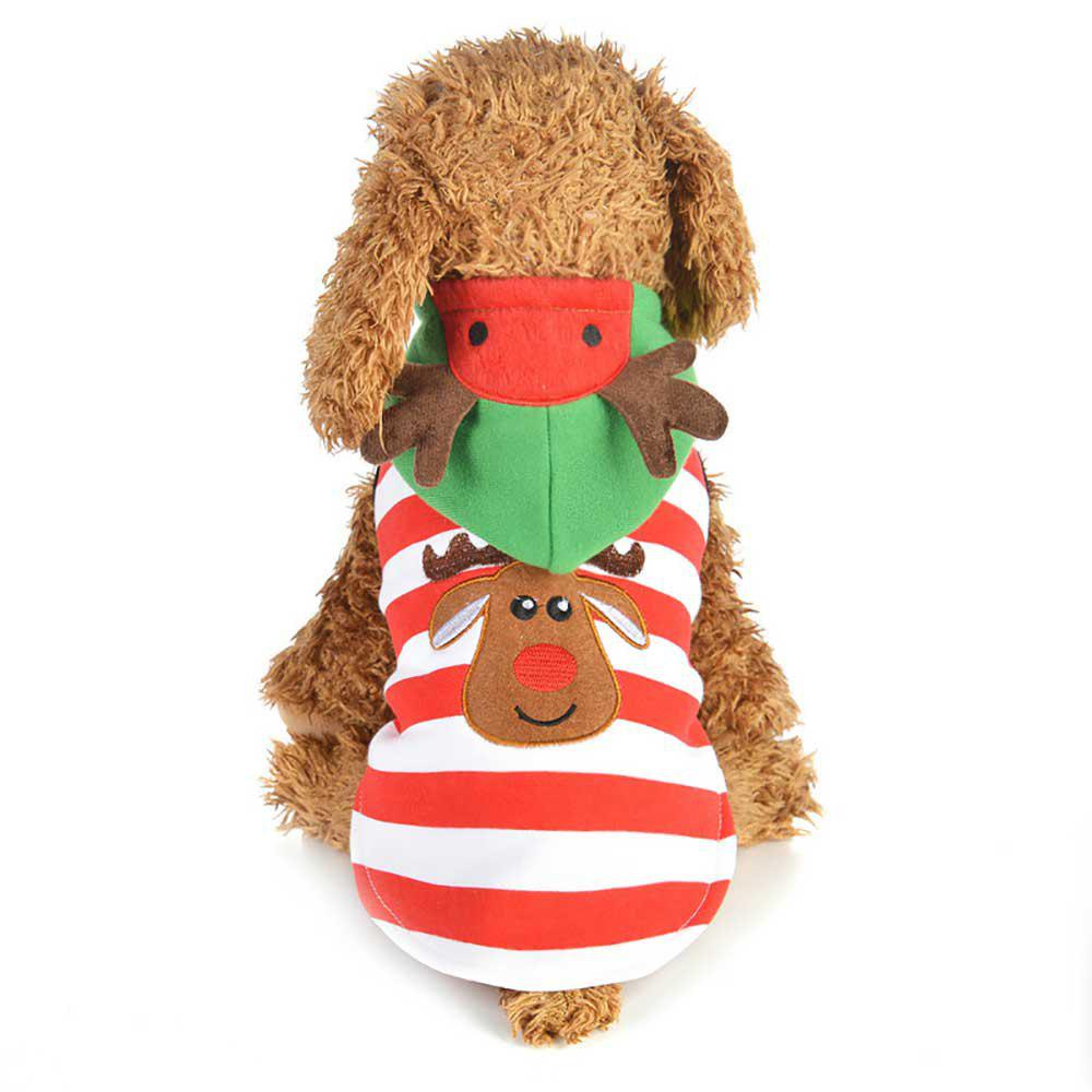 Outfit Christmas Pet Supplies Stripe Elk Casual Dog Coat