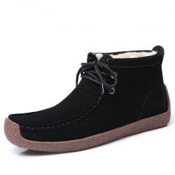 Snow Boots Women'S Middle Tube Winter Boots Leather Warm and Velvet Women'S Shoe -
