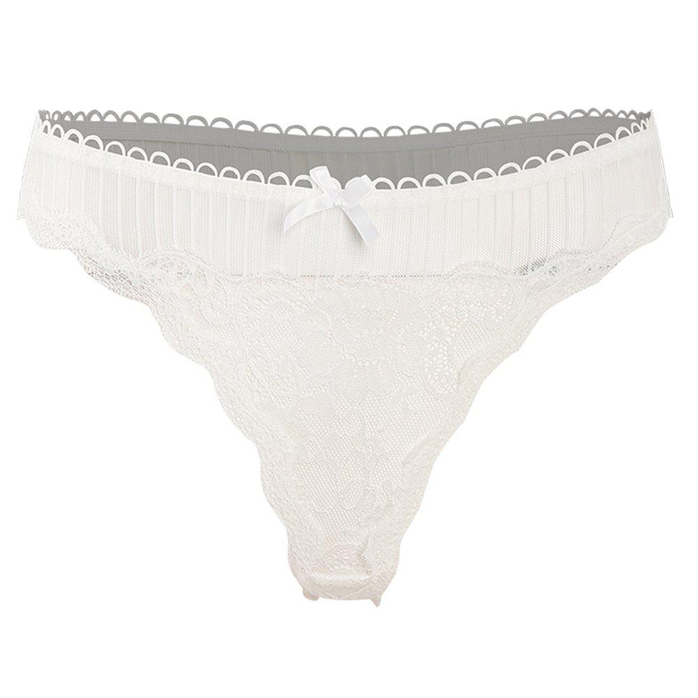 Latest MISSOMO Sexy Lace Stitching Bow Perspective Panties Different Colors