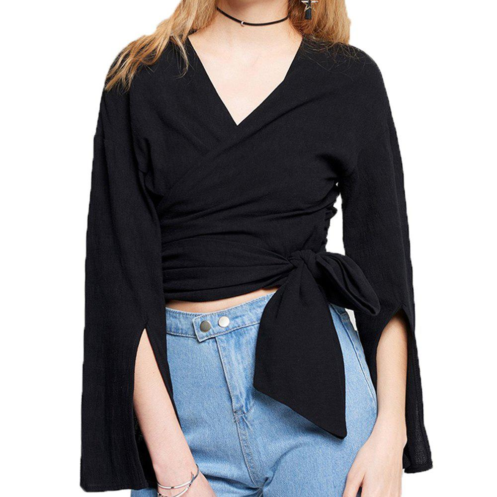 843830b5753f Outfit SHEINNET Women's Simple Small V-Neck Sexy Waist Tie T-Shirt Black