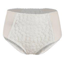 HODOYO Sweet and Girl Embroidery Perspective High Waist Briefs White -