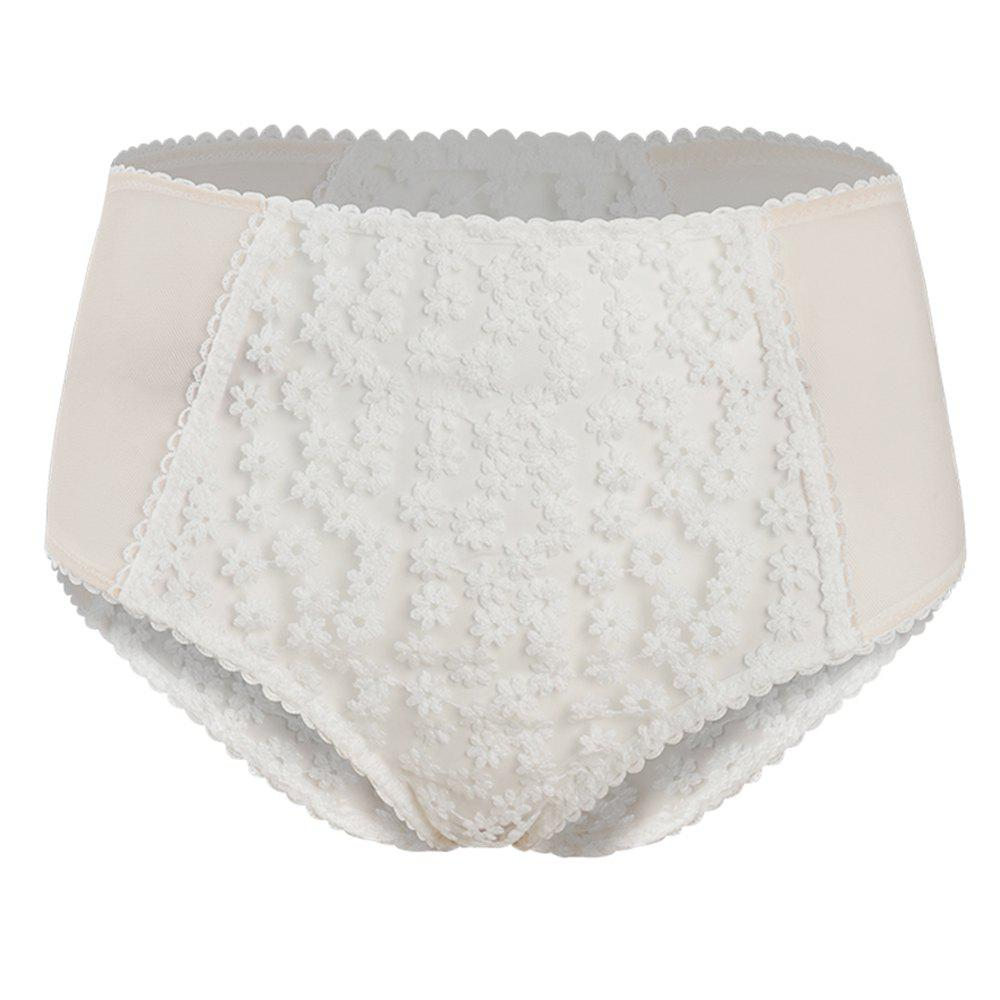 Best HODOYO Sweet and Girl Embroidery Perspective High Waist Briefs White