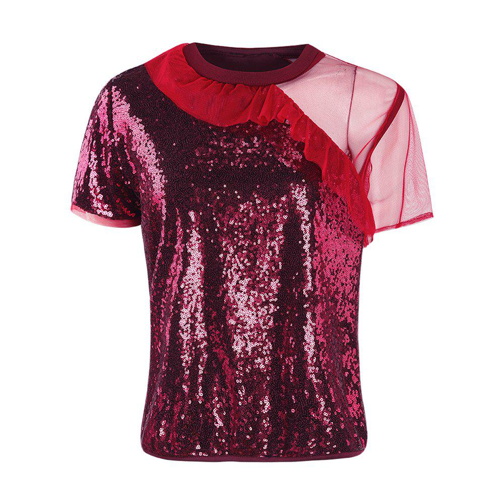 HAODUOYI Tee-shirt Tee shirt Imprimé Femme - Sweet Red Wine Red Rouge Vineux 2XL