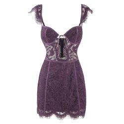 HODOYO Fashion Sexy Halter Sling One Shoulder Lace Slim Dress -