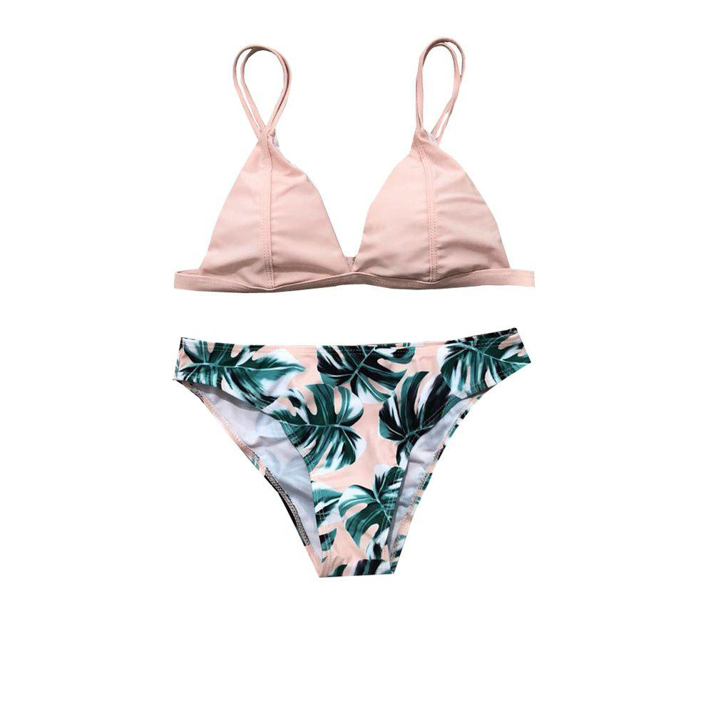 Outfits 2018 Euramerican Bikini  Green Leaf Printed Swimsuit  Two Sets of Swimming Suit