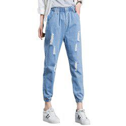 Women'S Ripped Jeans Solid Color Elastic Waist Pants -