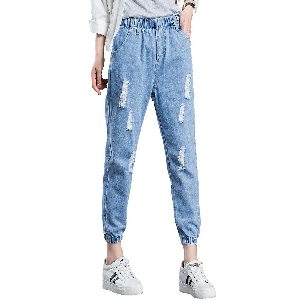c33efc8c7c3 50% OFF] Women'S Ripped Jeans Solid Color Elastic Waist Pants | Rosegal