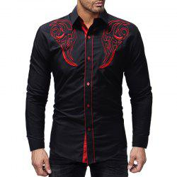 2018 New  Embroidery Men's Casual Slim Long-Sleeved Shirt -