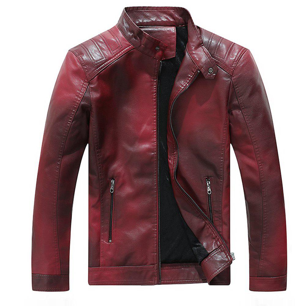 Discount Men Fashion Cotton-Padded Gradient Autumn and Winter Faux Leather Jacket