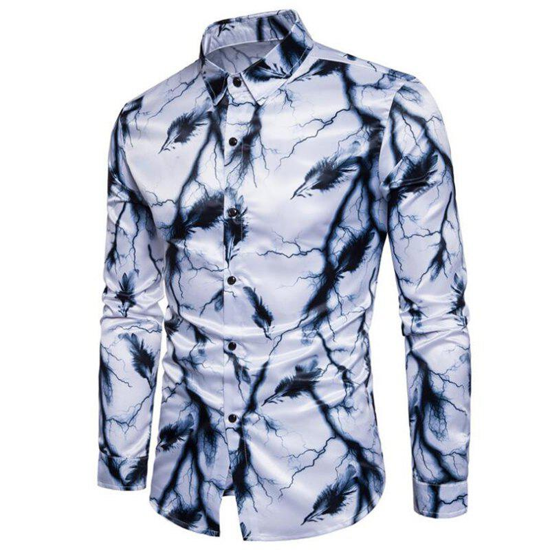 New Men's Printed Shirts Color Block Ink Painting Casual Shirt