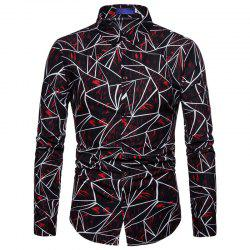 Men Casual Shirt Geomtric Slim Fit Long Sleeve Shirt -