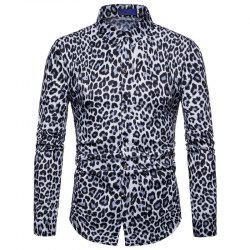 Men Casual Shirt Leopard Print Button Down Slim Fit Long Sleeve -