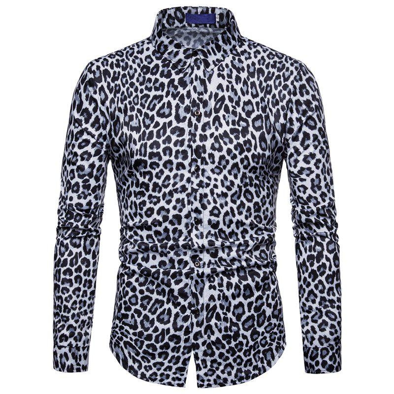Fancy Men Casual Shirt Leopard Print Button Down Slim Fit Long Sleeve