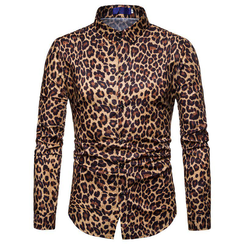 Chic Men Casual Shirt Leopard Print Button Down Slim Fit Long Sleeve