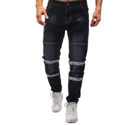 Men Jeans Floral Zipper Washed Straight Leg Jeans -