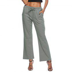 Solid Color Drawstring Loose Pocket Bell-Bottoms -
