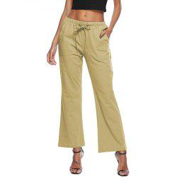 Твердые цвета Drawstring Loose Pocket Bell-Bottoms -