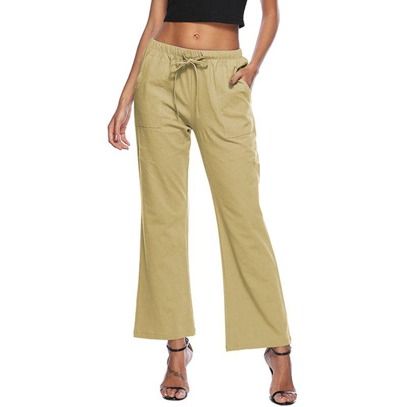 Твердые цвета Drawstring Loose Pocket Bell-Bottoms
