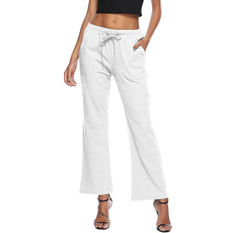 Buy Solid Color Drawstring Loose Pocket Bell-Bottoms