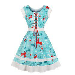 Round Collar Draw String Lace-Up Christmas Dress -