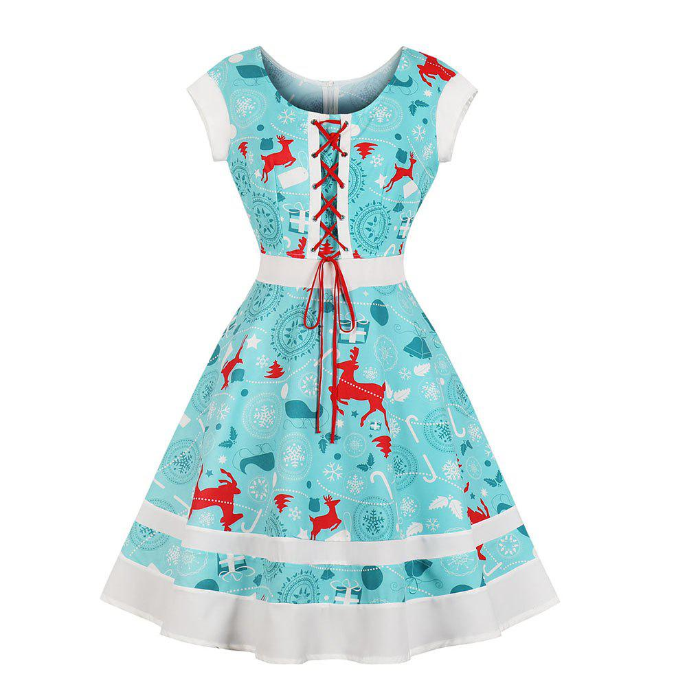 Sale Round Collar Draw String Lace-Up Christmas Dress