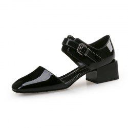 Square Head Buckle with Thick and Shallow Work Shoes -