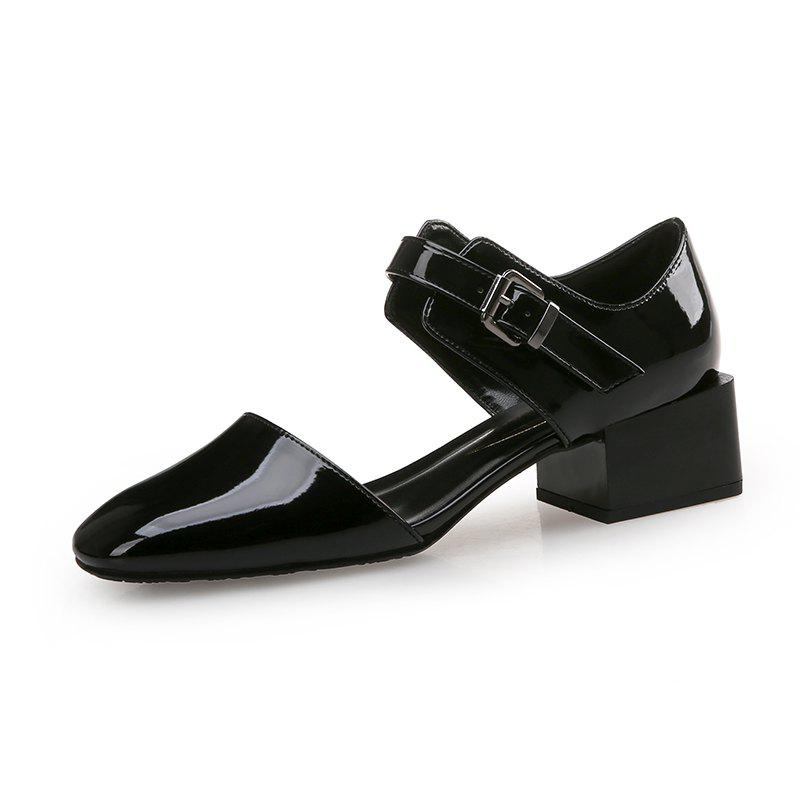 Chic Square Head Buckle with Thick and Shallow Work Shoes