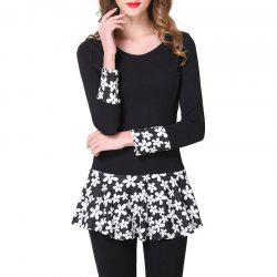 Large Size Women's Contrast Color Lace Stitching Slim Long-Sleeved T-Shirt -