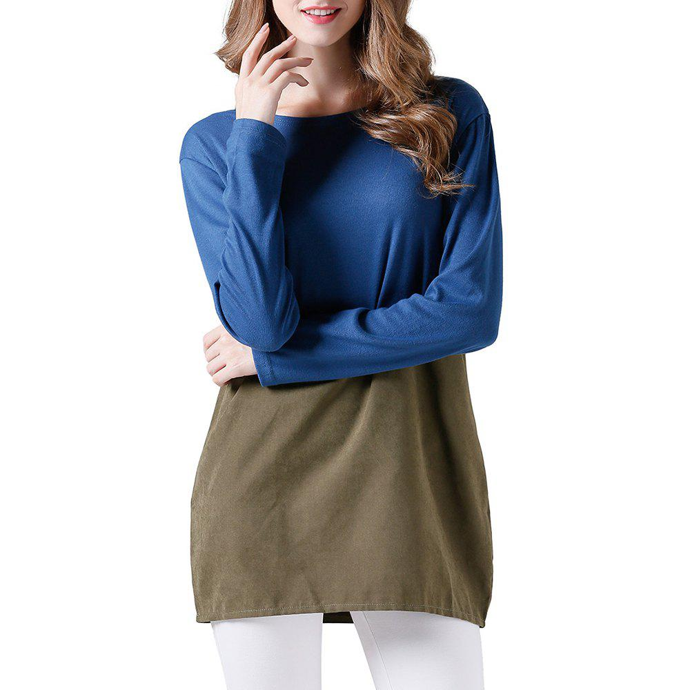 Hot Women's Fashion Casual Stitching Crew Neck Long Sleeve Dress