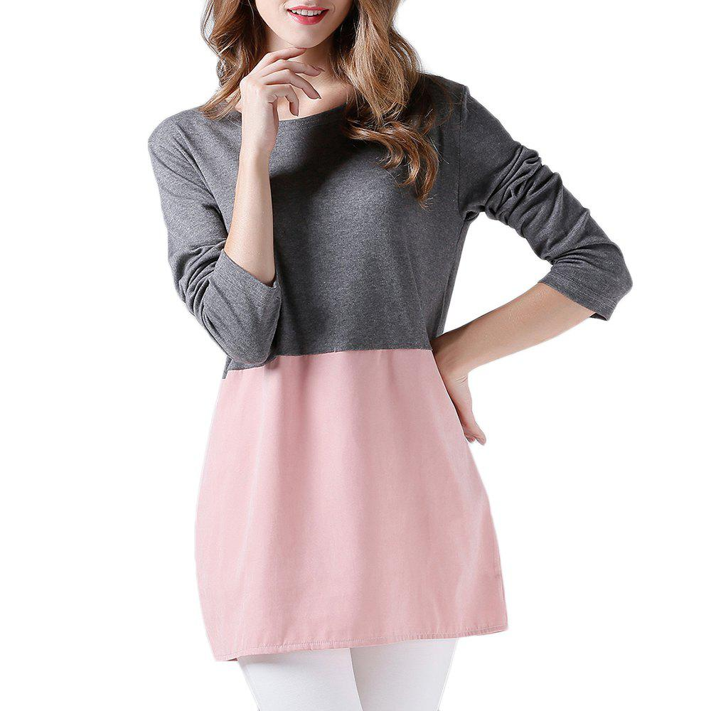 Unique Women's Fashion Casual Stitching Crew Neck Long Sleeve Dress