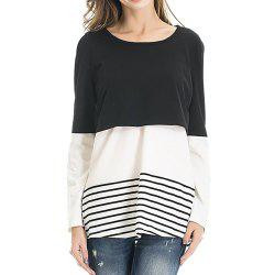 Maternity Round Neck Striped Patchwork Lace Suckle Casual T-shirt -