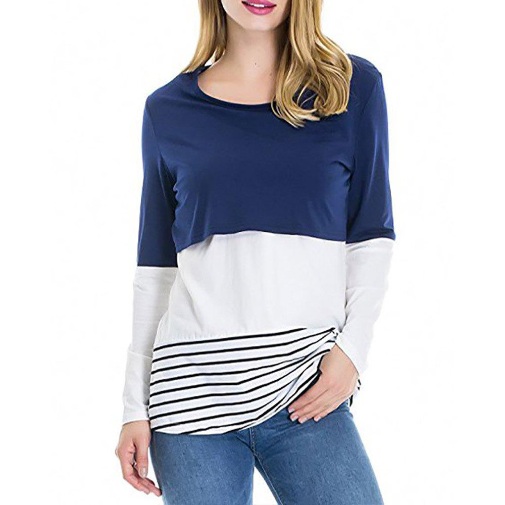 Buy Maternity Round Neck Striped Patchwork Lace Suckle Casual T-shirt