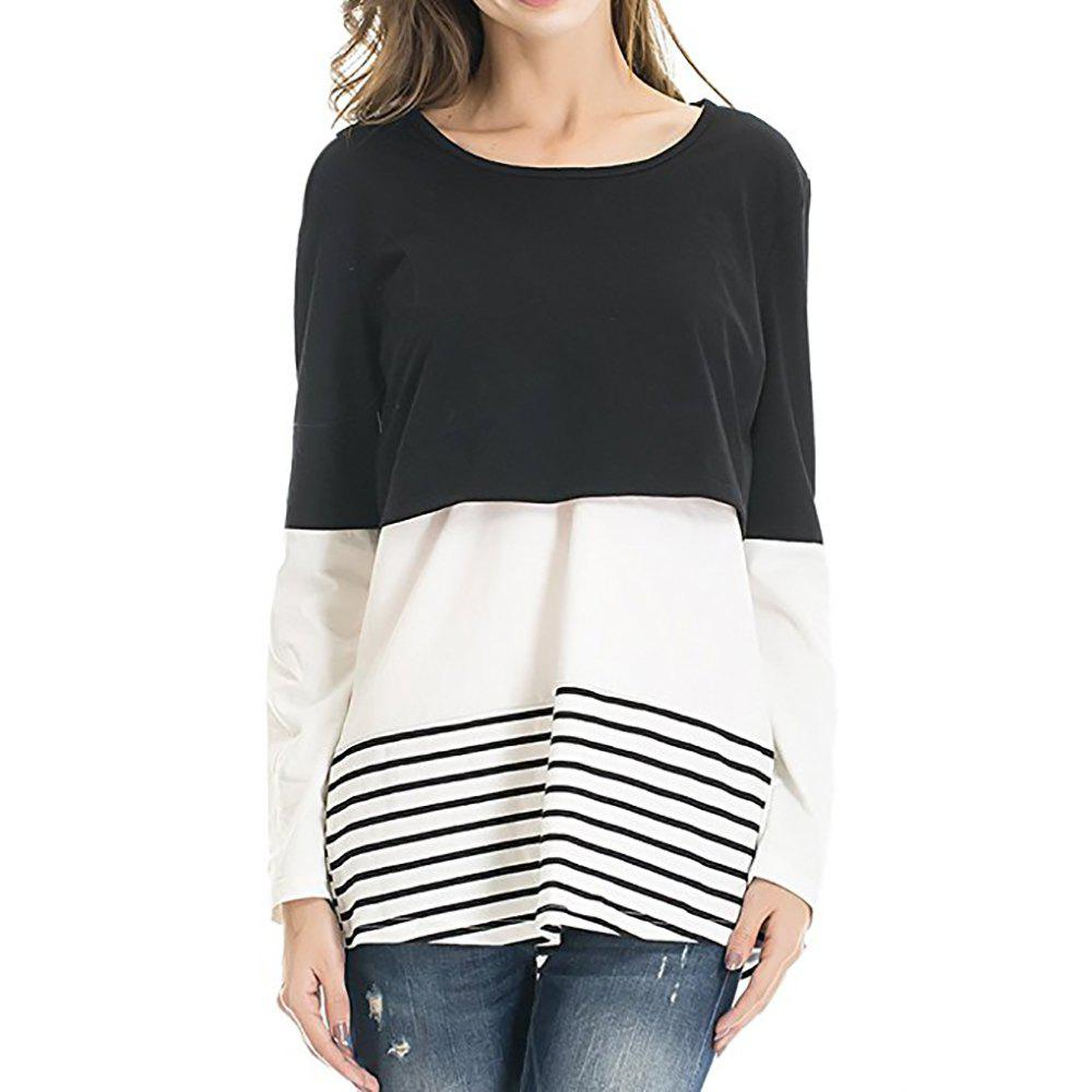 Affordable Maternity Round Neck Striped Patchwork Lace Suckle Casual T-shirt