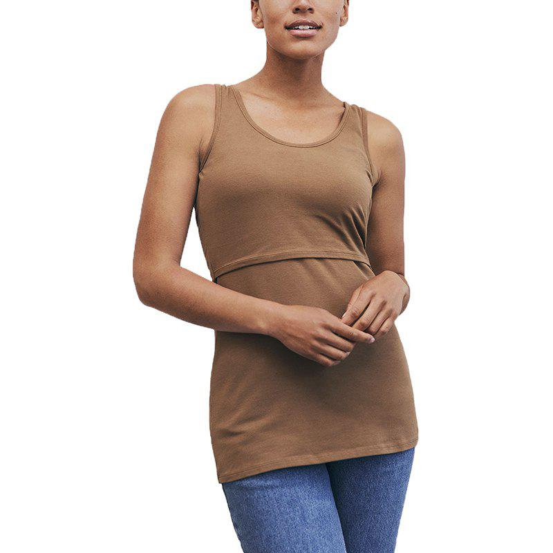 Discount Maternity Casual Plus Size Solid Color Suckle Stretchly Vest Wild Sleeveless Top