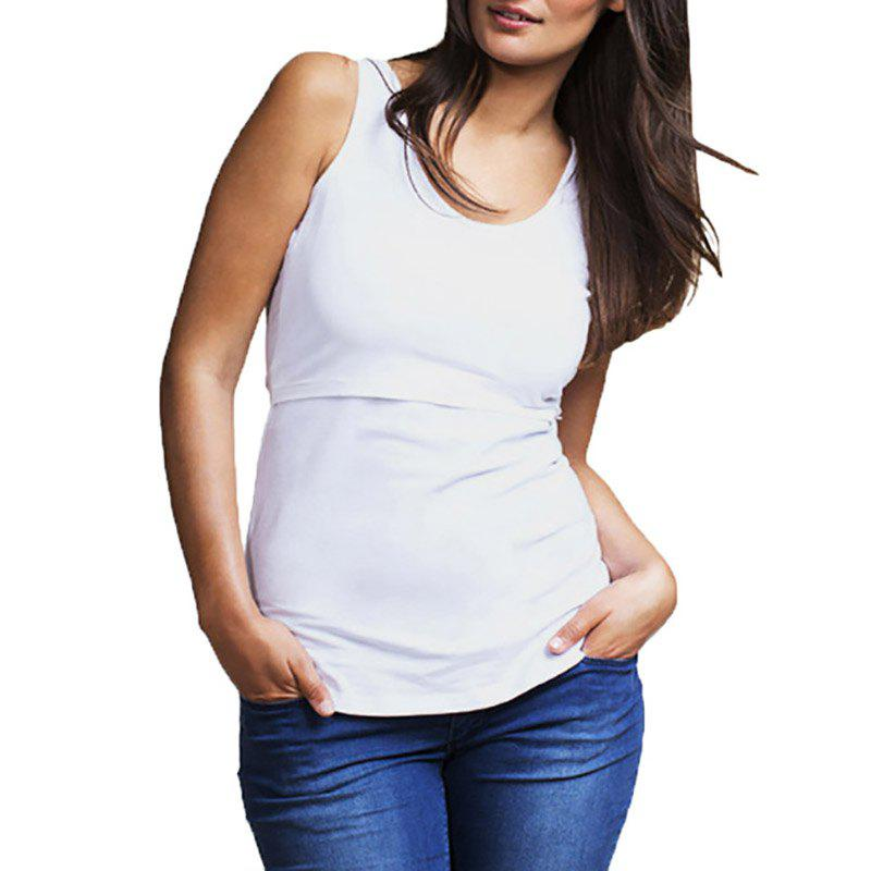 New Maternity Casual Plus Size Solid Color Suckle Stretchly Vest Wild Sleeveless Top